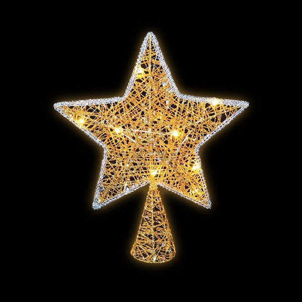 LED GLITTER STAR TREE TOPPER GOLD