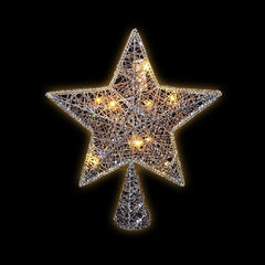 LED GLITTER STAR TREE TOPPER CHAMPAGNE GOLD