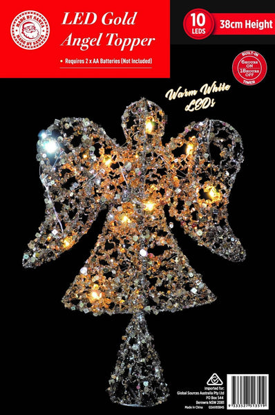 LED GLITTER ANGEL TREE TOPPER