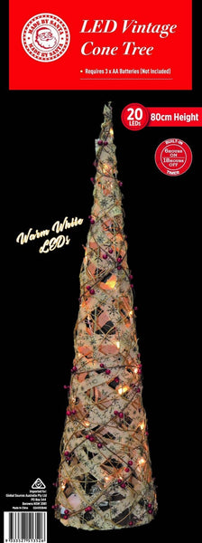 ON SALE: NEW ARRIVAL: LED VINTAGE BURLAP CONE TREE 80cm