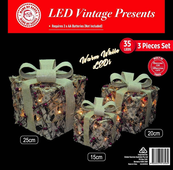 BACK IN STOCK: LED VINTAGE BURLAP PRESENT SET OF 3 - Christmas World