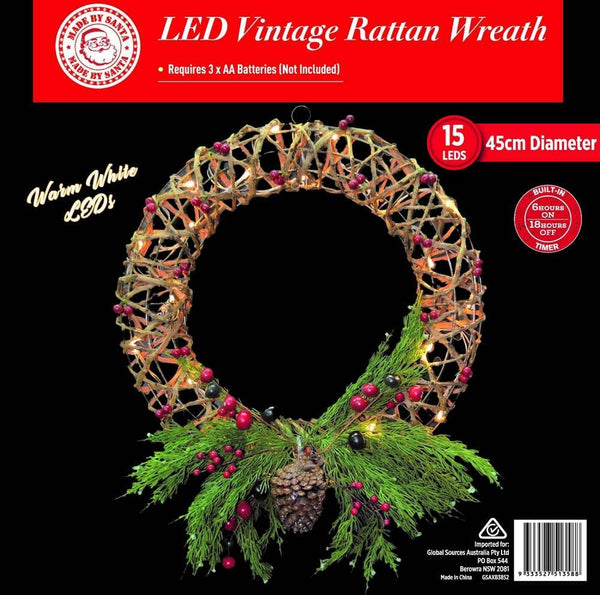 ON SALE: LED VINTAGE RATTAN WREATH 46cm WITH DECO