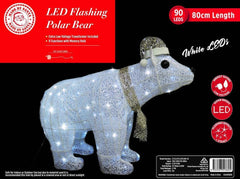 BACK IN STOCK: WONT LAST LONG: LED POLAR BEAR WHITE-CHAMPAGNE 80cm - Christmas World