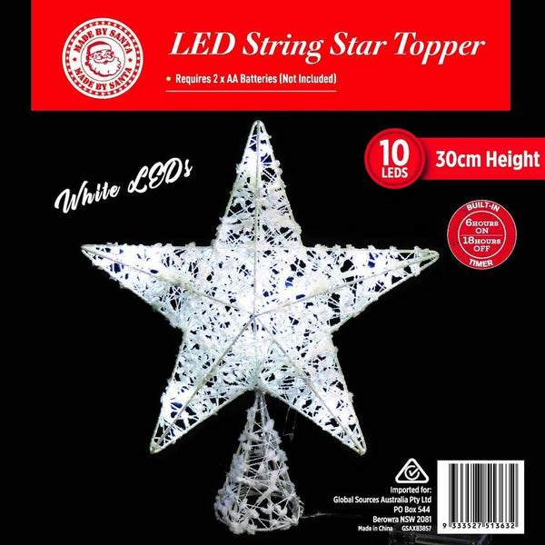 LED LIGHT UP STRING STAR TREE TOPPER WHITE