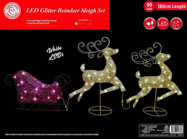 PRICE DOWN: LED GLITTER REINDEERS SLEIGH 180cm