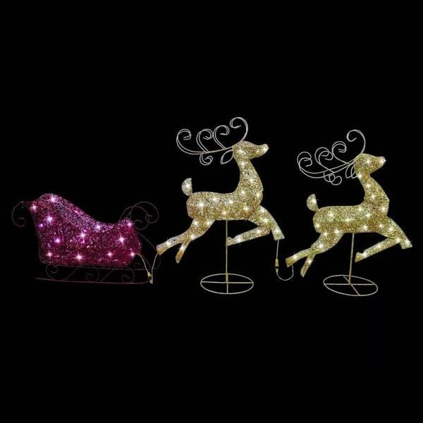 BACK IN STOCK: WON'T LAST LONG: LED GLITTER REINDEERS SLEIGH 180cm