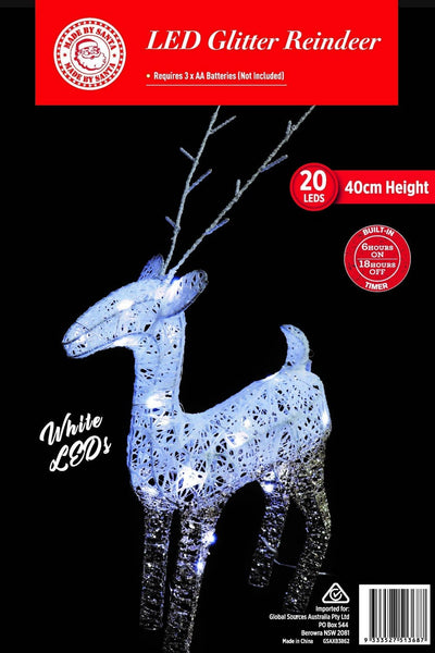 NEW ARRIVAL: LED LIGHT UP STANDING REINDEER 40cm 2 TONES (Battery Operated)