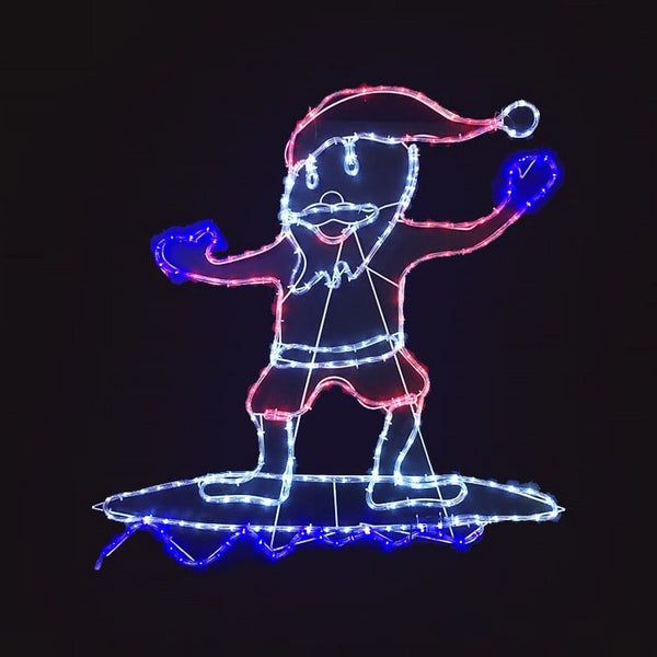 LED ROPELIGHT SURFING SANTA