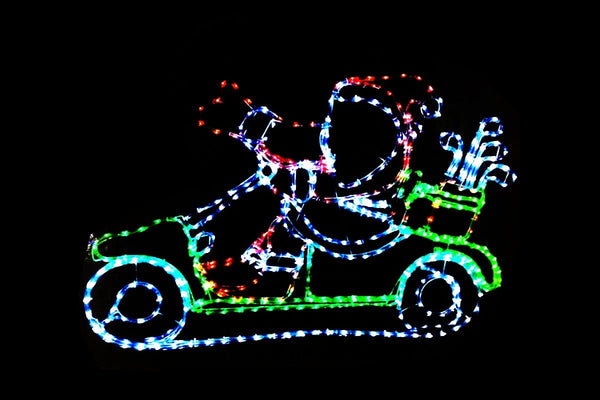 LED ROPELIGHT SANTA GOLF CART