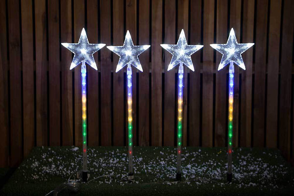 DIGITAL LED STAR PATH LIGHTS 4pc - Christmas World