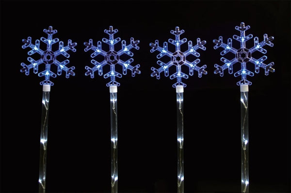 LED SNOWFLAKE PATH LIGHTS 4pcs 80cm Height