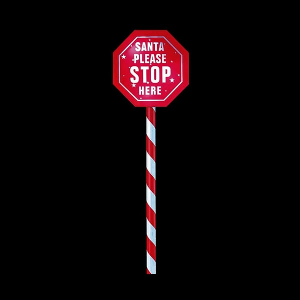 BACK IN STOCK: SOLAR SANTA STOP SIGN 52cm - Christmas World