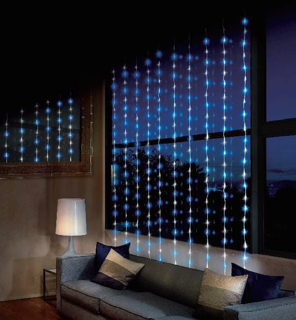 LED WATERFALL CURTAIN 2x2m WHITE-BLUE