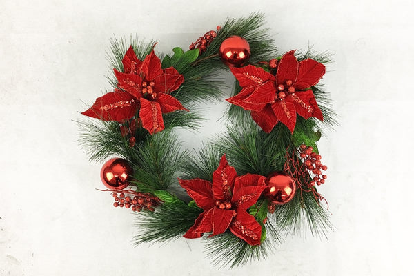 RED BAUBLE/POINSETTIA WREATH DELUXE 50cm