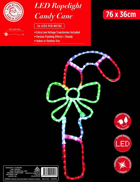 LED ROPE LIGHT CANDY CANE WITH BOW 76x36cm