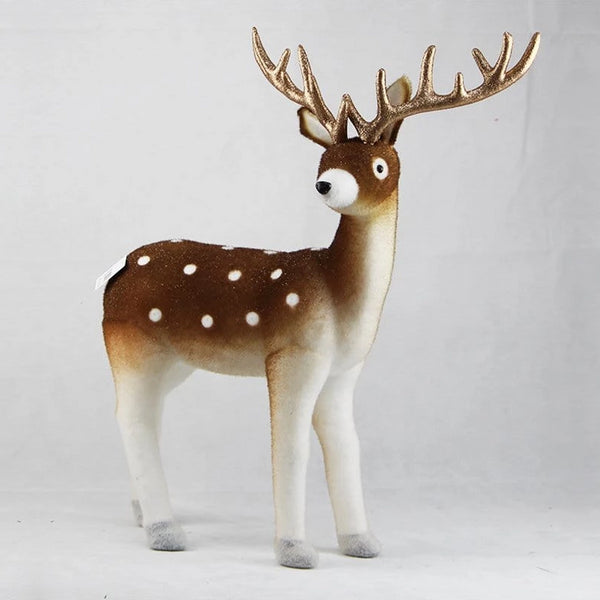 FLOCKED REAL-LOOK DEER 80x50cm - Christmas World
