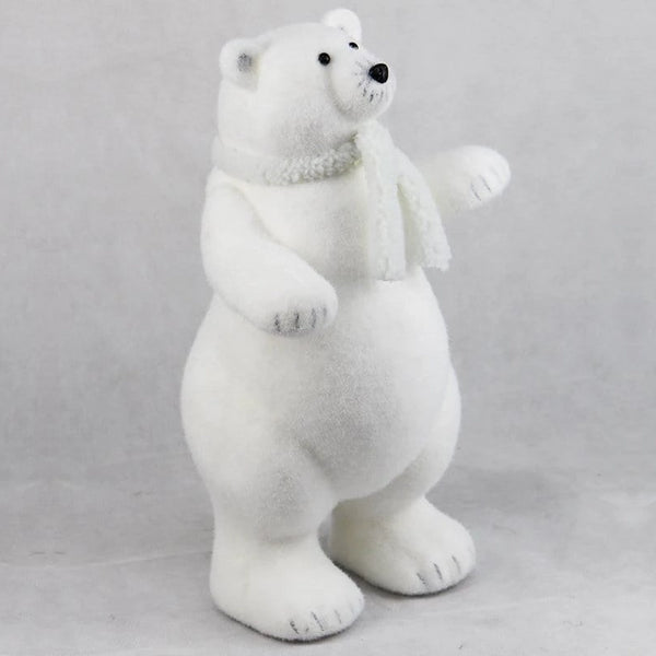 FLOCKED POLAR BEAR 50cm - Christmas World