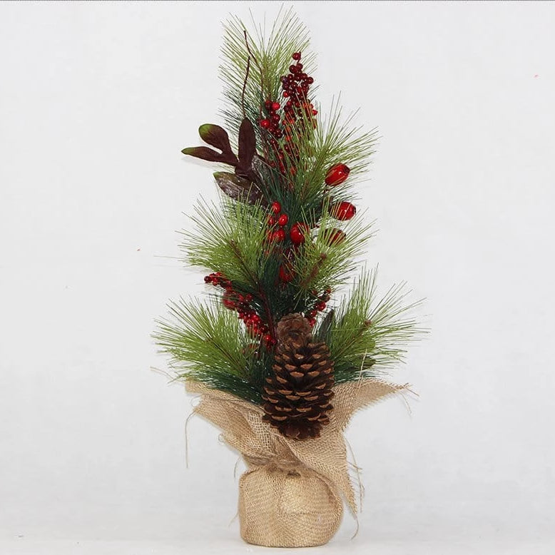 JUTE POT TABLE TREE WITH PINECONE AND BERRIES 62cm