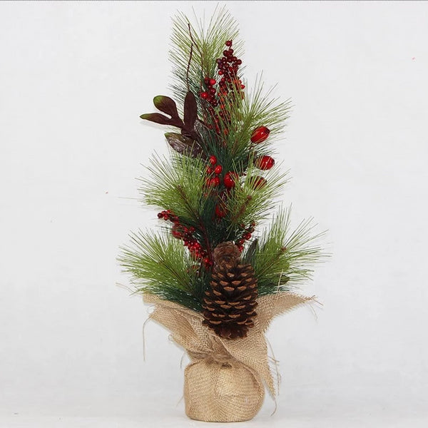 Jute Pot Table Christmas Tree with Pinecone and Berries - 62cm