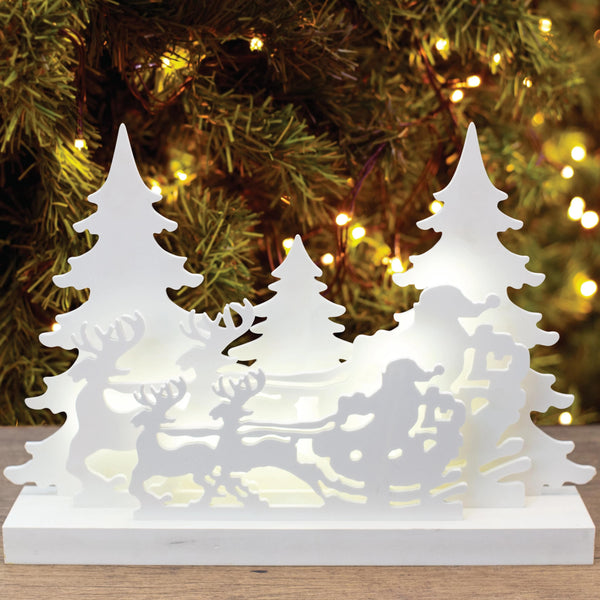 LED Sleigh with Santa and Reindeer Woodcut Display - White
