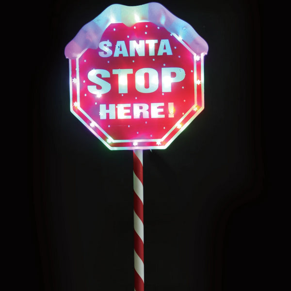 LED Santa Stop Here Path Sign