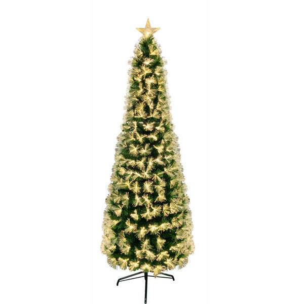 Fibreoptic Pencil Tree - Green with Warm White LEDs - 210cm
