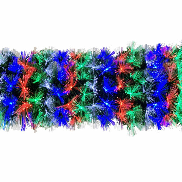 Fibreoptic Garland - Green with Multicoloured LEDs - 270cm
