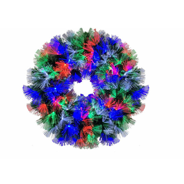 Fibreoptic Wreath - Green with Multicoloured LEDs - 60cm