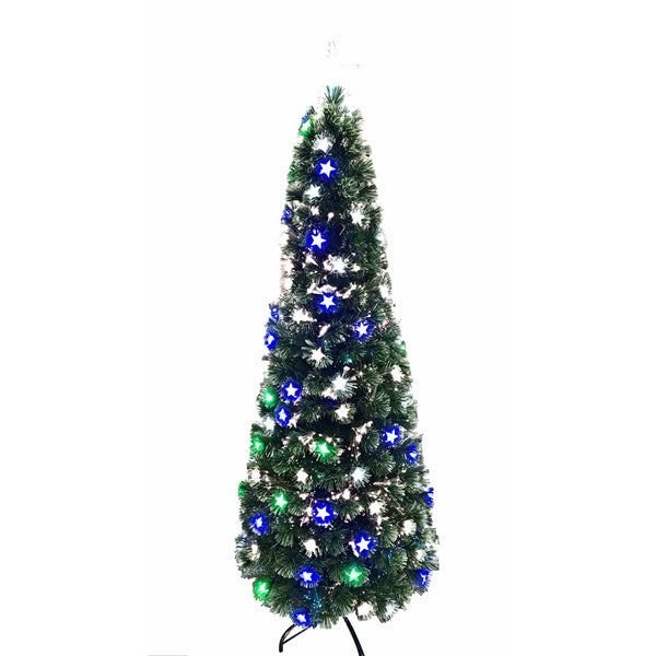 Fibreoptic Pencil Tree - Multicolour LED Stars - 180cm