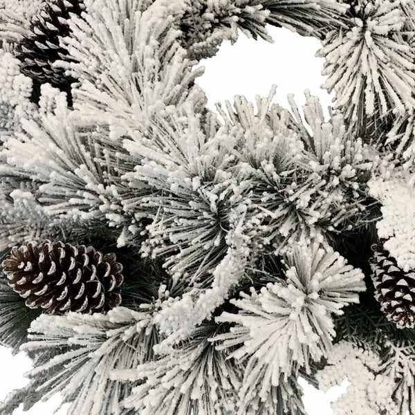 Flocked Snow Wreath - 60cm