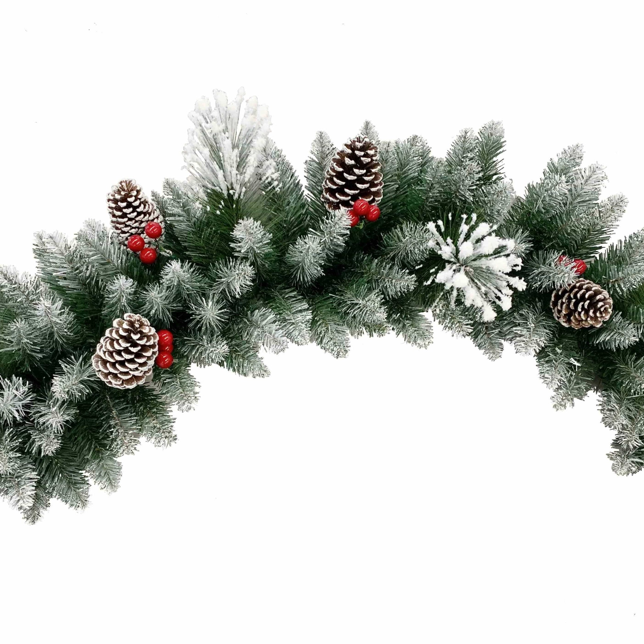 Snowy Garland with Pinecones and Berries - 270cm