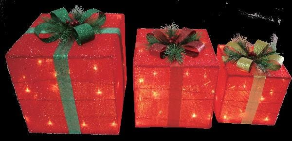 LED Tinsel Presents - Set of 3