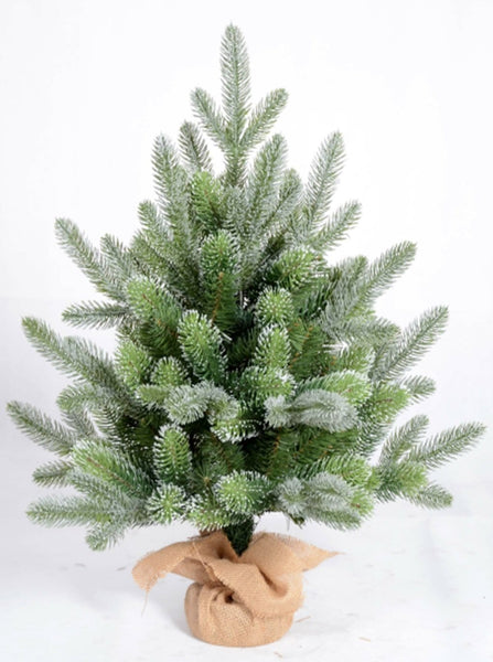 Flocked Christmas Tree with Burlap Base - 60cm