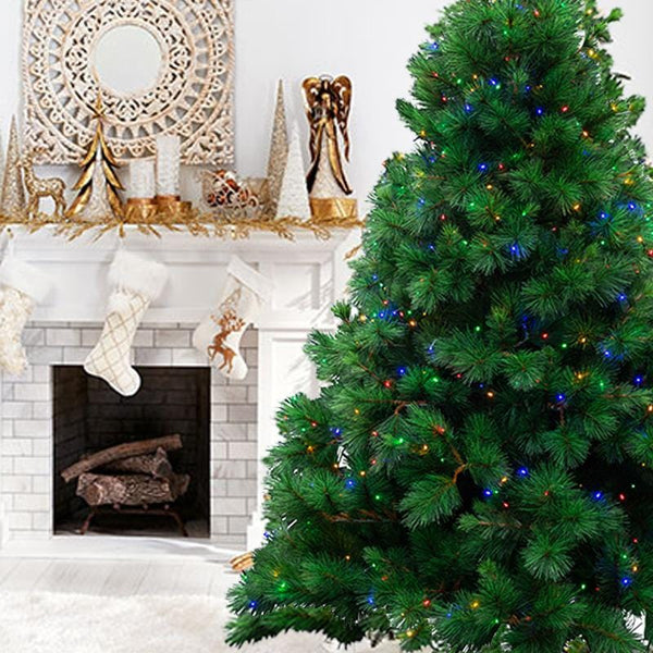 7ft NATURAL ROYAL PINE TREE PRE-LIT WITH MULTICOLOR LED LIGHTS