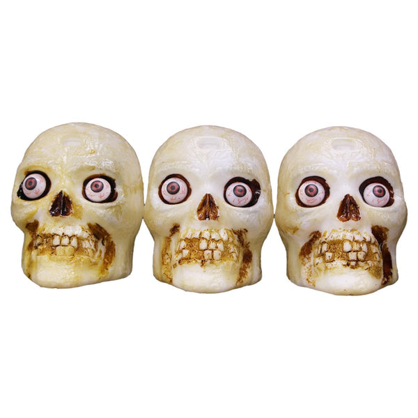 3 Halloween Skulls - Light-up - Christmas World