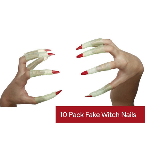 Halloween Witch Fake Nails: 10 Packs - Christmas World