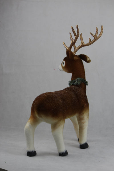 FLOCKED DEER w/ANTLERS 70cm - Christmas World