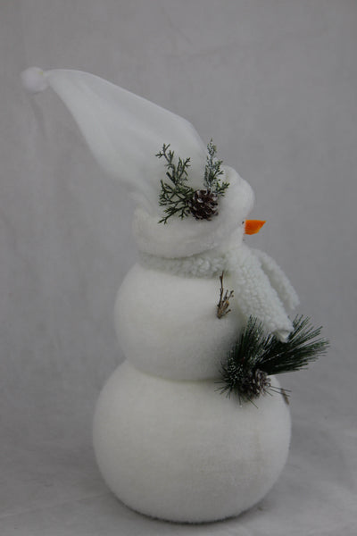 FLOCKED BEARDED SNOWMAN 42cm - Christmas World
