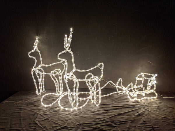 150cm Double Reindeer Sleigh with Warm White Leds 150cm x 70cm x 45cm