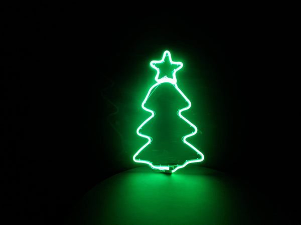 Silhouette Christmas Tree with Star Neon Green Light 65cm x 35cm
