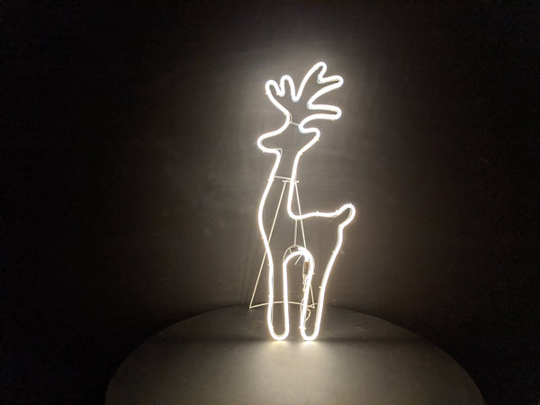 Silhouette Standing Deer Neon  Warm White Light 78cm x 30cm