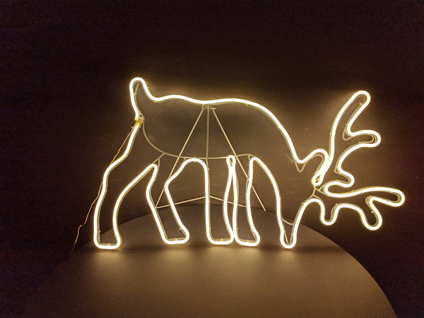 Silhouette Feeding Reindeer Neon Warm White Light 80cm x 50cm