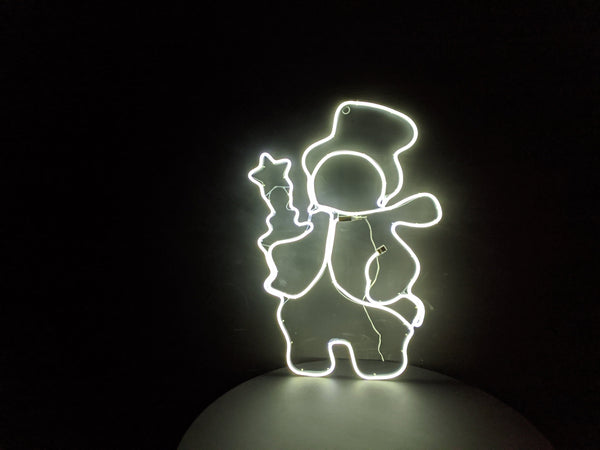 Santa Holding Candle Neon Warm White Light 85cm x 60cm