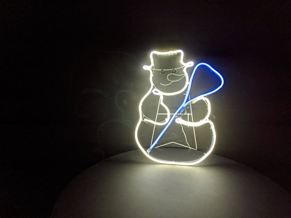 Snowman with Broom Neon Warm White  Light 55cm x 45cm
