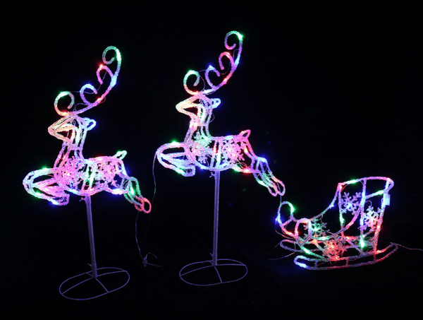 LED SLEIGH 2 LEAPING REINDEER WITH 120 LED
