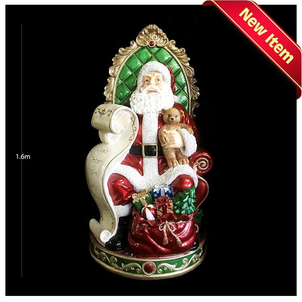 In-Store Only: Lifesize Resin Santa on Chair With Music and LED Lights