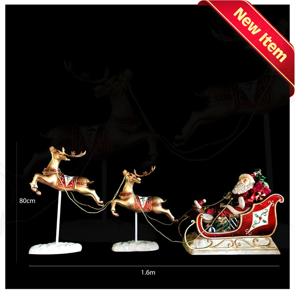 Poly Santa Sleigh With Twin Reindeer Leaping with LED - Christmas World