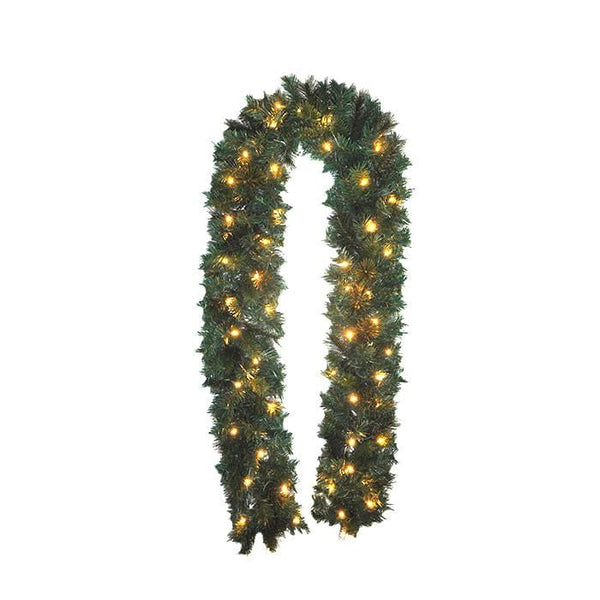 Pine Garland Pre-Lit with 50 Warm LED - Christmas World