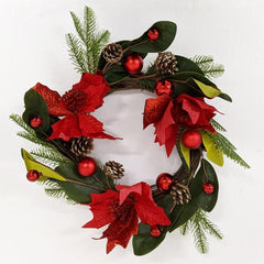 RED POINSETTIA WITH GREEN LEAVES WREATH