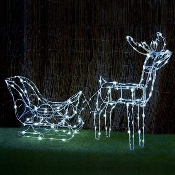 SOLAR LED SLEIGH WITH DEER 160LED WHITE